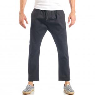 Мъжки свободен панталон в черно с ластик