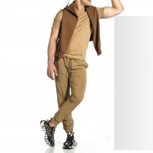 Мъжки шушляков панталон Jogger цвят каки Breezy