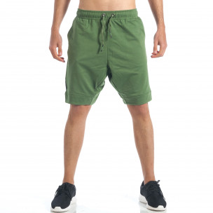 Мъжки зелени шорти с декоративен цип
