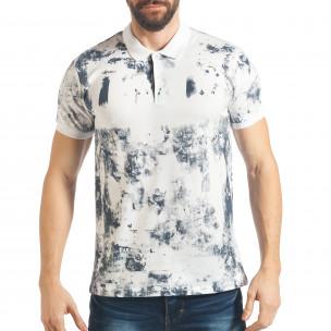 Мъжка бяла тениска със син ефект