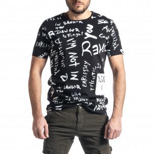 Мъжка черна тениска с принт
