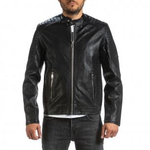 Рокерско черно кожено яке с капитонирани детайли Wanwest
