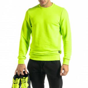 Basic мъжка памучна блуза неоново зелено