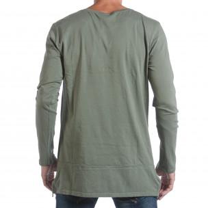 Мъжка зелена блуза с ципове отстрани  2