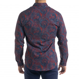 Slim fit мъжка риза жакардов десен Open 2