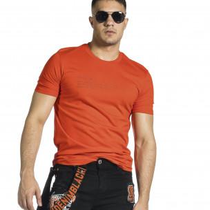 Мъжка червена тениска с гумиран принт
