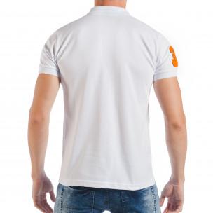 Бяла мъжка тениска тип поло шърт с номер 32  2