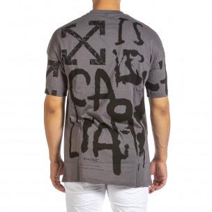 Oversize сива тениска с колоритен принт 2