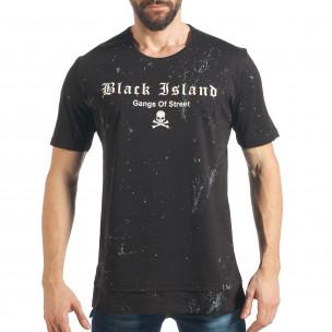 Мъжка черна дълга тениска с голям принт на гърба