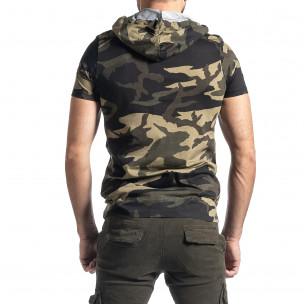 Мъжка тениска с качулка зелен камуфлаж 2