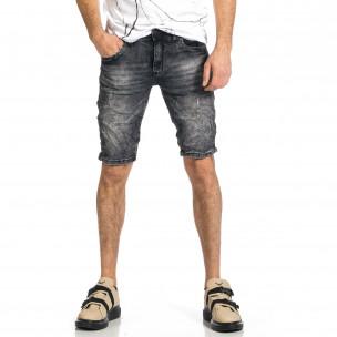Мъжки черни къси дънки с избелял ефект