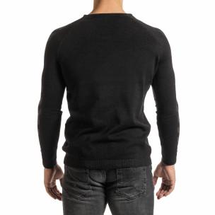 Мъжки черен пуловер реглан ръкав  2
