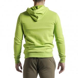 Basic мъжки суичър-анорак неоново зелен  2