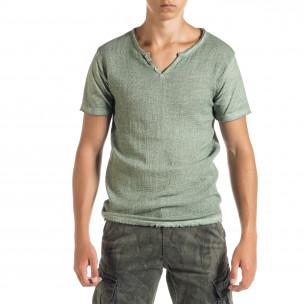 Мъжка тениска от памук и лен в зелено