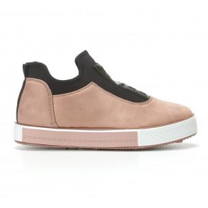 Дамски розови кецове без връзки Ideal Shoes