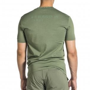 Мъжка зелена тениска с декорирано бие  2