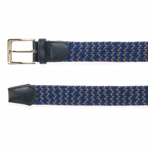 Мъжки плетен колан в сиво и синьо