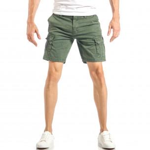 Мъжки къси карго панталони в зелено с дребен принт