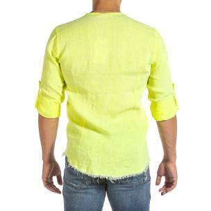 Мъжка ленена риза Vintage жълт неон 2