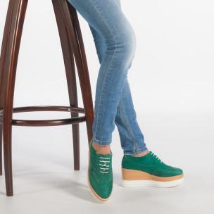 Дамски зелени обувки с двуцветна платформа 2
