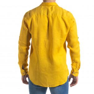 Ленена мъжка риза в жълто  2