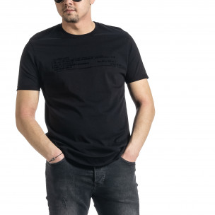 Мъжка черна тениска Slim fit с флок печат