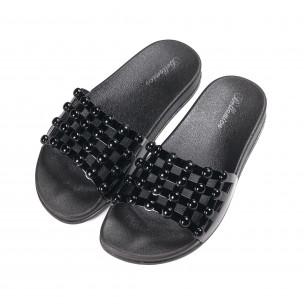 Дамски черни лачени чехли 2