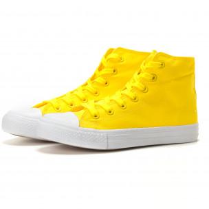 Мъжки жълти високи кецове изчистен модел  2