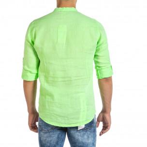Мъжка ленена риза зелен неон 2