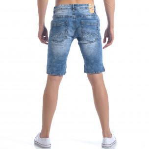 Мъжки къси дънки с декоративни скъсвания 2