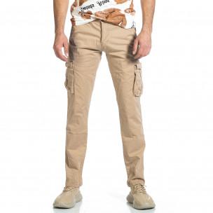 Мъжки бежов панталон с прави крачоли & Big Size