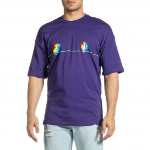 Мъжка лилава тениска Dinosaur Oversize  2
