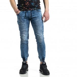 Мъжки сини дънки тип Jogger  Adrexx