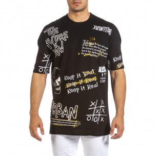 Oversize мъжка черна тениска с череп