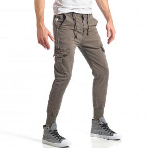 Мъжки зелен карго панталон с контрастни ленти  2