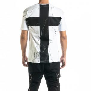 Мъжка бяла тениска с кръстове 2