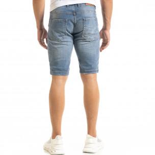 Мъжки сини къси дънки избелял ефект  2