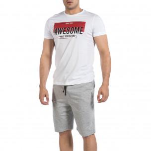 Мъжки комплект Awesome в бяло и сиво Disculpe
