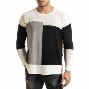 Oversize пуловер с графични блокове