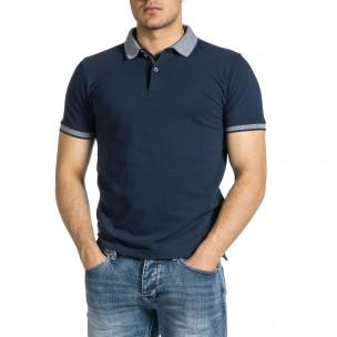 Мъжка тъмносиня тениска с яка меланж