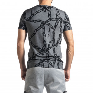 Мъжка тениска Chains сив меланж  2