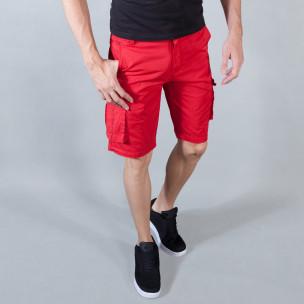 Мъжки червени къси панталони с карго джобове