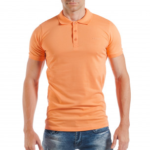 Оранжева мъжка тениска пике с яка