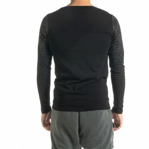 Мъжка черна блуза с принт 2