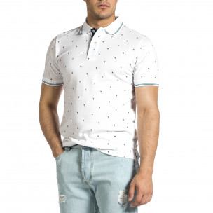 Мъжка бяла тениска пике с палми
