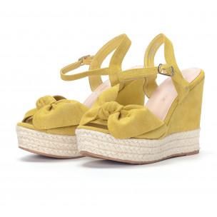 Дамски жълти сандали на платформа  2