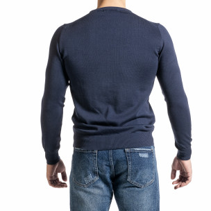 Фин памучен мъжки пуловер цвят деним 2
