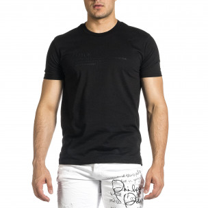 Мъжка черна тениска с гумиран принт Breezy 2