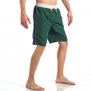 Мъжки зелен бански със син кант отстрани  2
