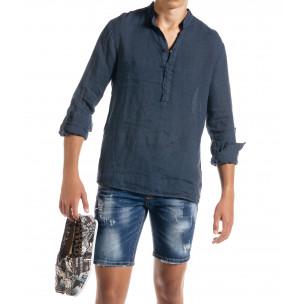 Ленена мъжка риза в синьо рустик стил